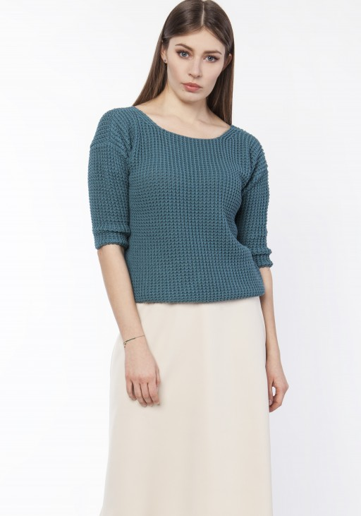 Sweater with neckline at the front or back, SWE118 emerald green
