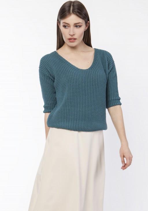 Sweter z uwodzicielskim dekoltem, SWE118 morski