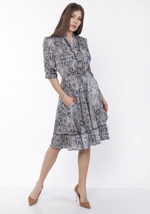 Sukienka z falbanką, SUK168 wąż