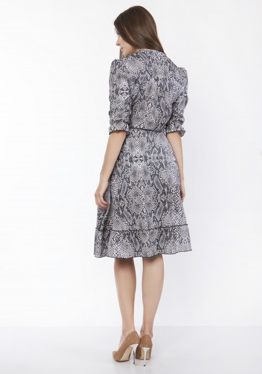 Dress with frill, SUK168 snake print