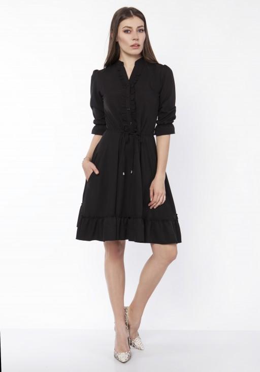 Sukienka z falbanką, SUK169 czarny