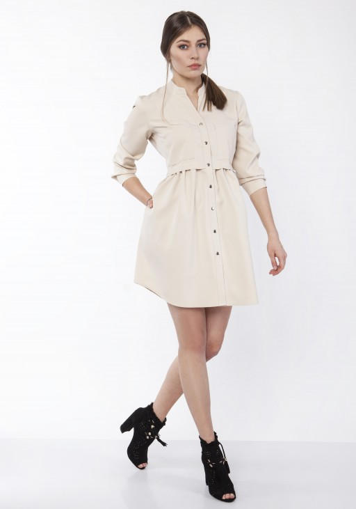 Sukienka koszulowa, SUK163 beż