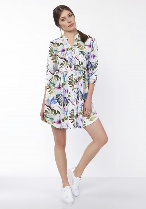 Sukienka koszulowa, SUK163 liście