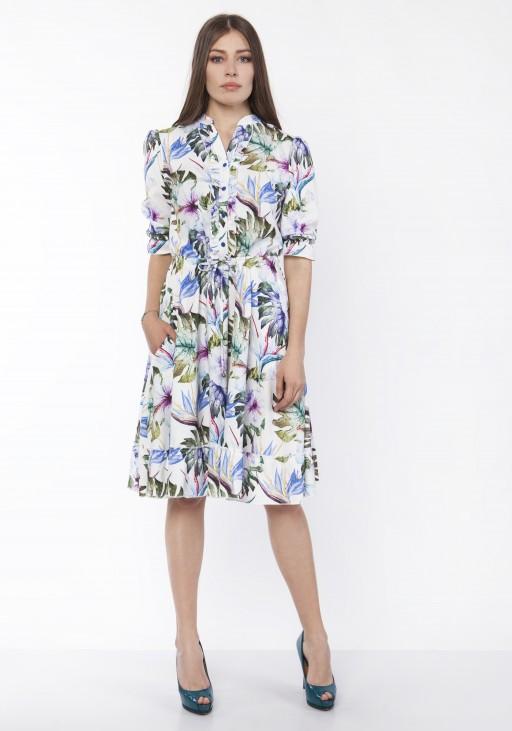 Sukienka z falbanką, SUK168 liście