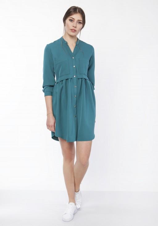 Sukienka koszulowa, SUK163 morski