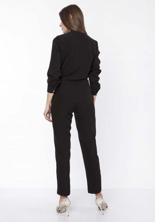 Women's jumpsuit with a stand-up collar, KB114 black
