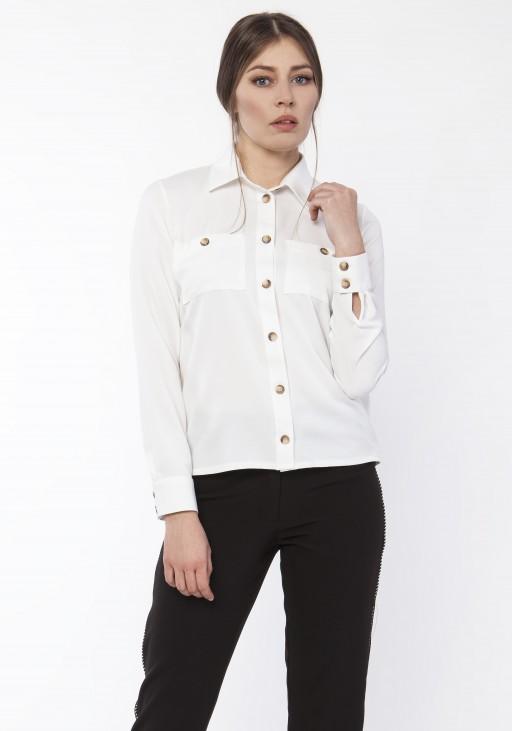 Koszula damska z dłuższym tyłem, K112 LIŚCIE