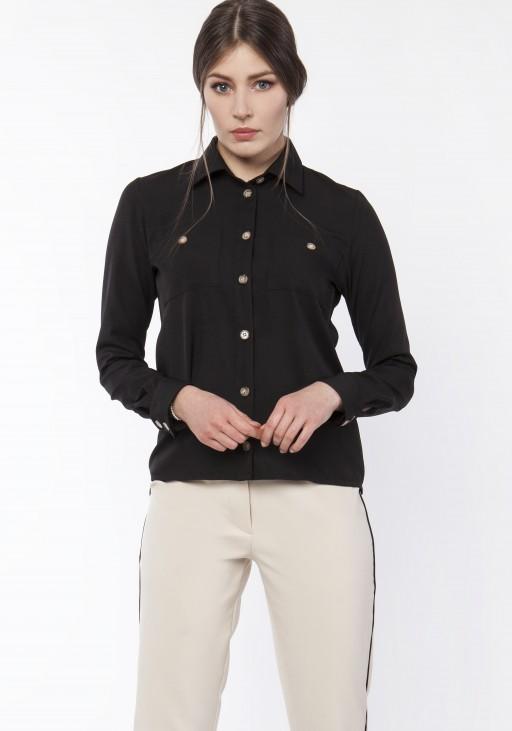 Koszula damska z dłuższym tyłem, K113 czarny