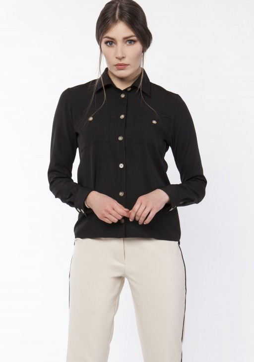 Women's shirt with longer back, K113 czarny
