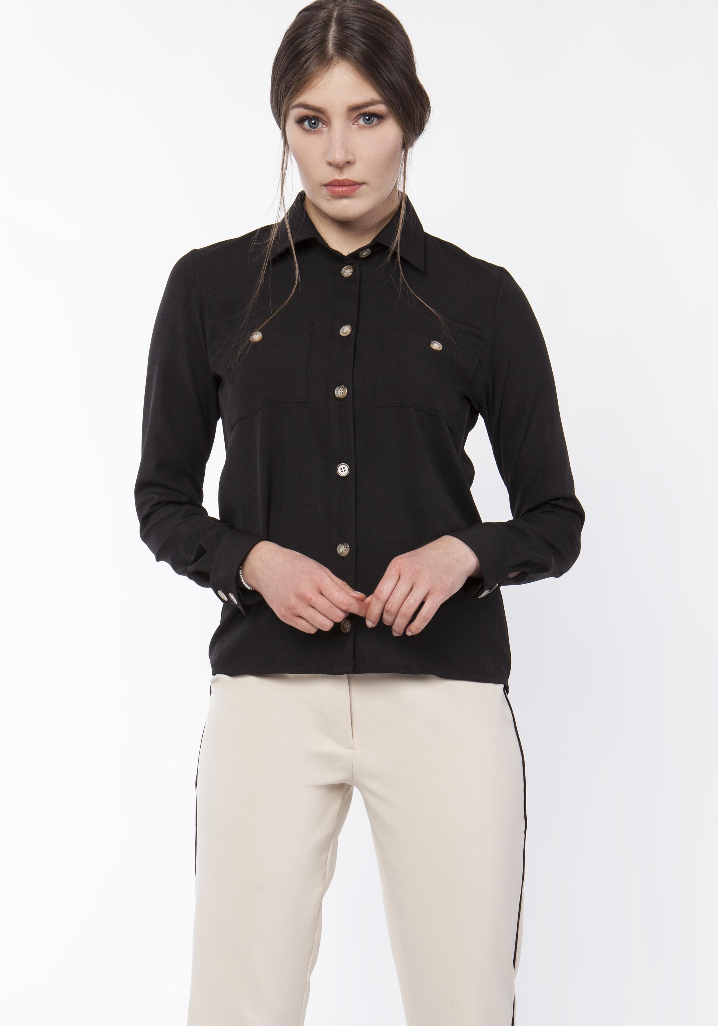 bafeb282 Koszula damska z dłuższym tyłem, K113 czarny - Lanti