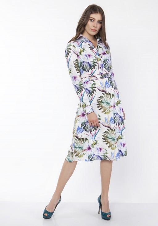 Elegant dress with a collar, SUK165 flowers