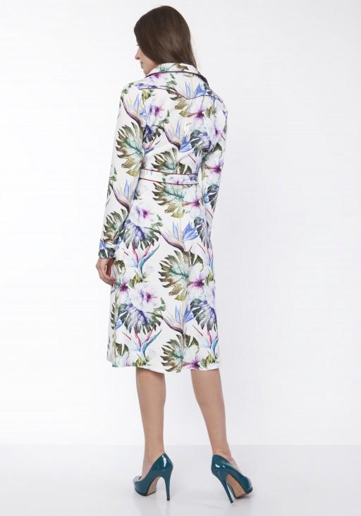 Sukienka elegancka z kołnierzykiem, SUK165 liście