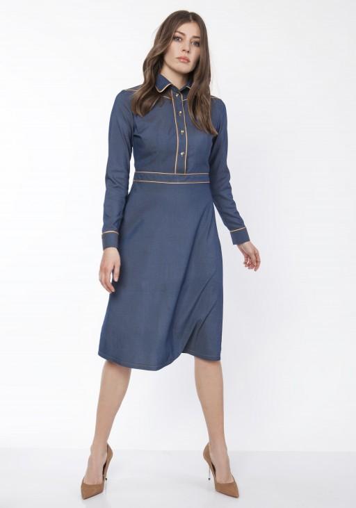 Sukienka elegancka z kołnierzykiem, SUK166 jeans