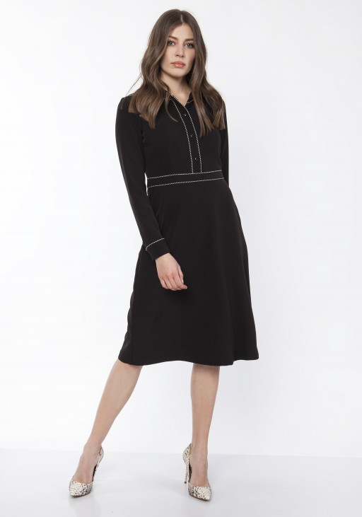 Elegant dress with a collar,  SUK167 black