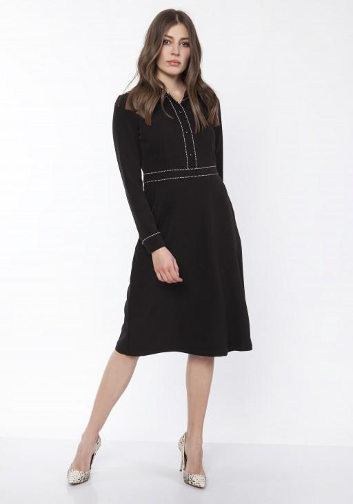 Sukienka elegancka z kołnieżykiem, SUK167 czarny