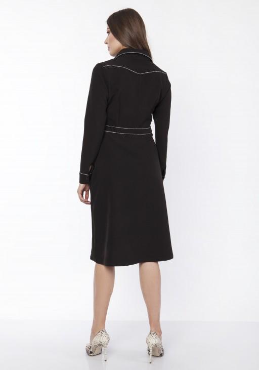 Sukienka elegancka z kołnierzykiem, SUK167 czarny