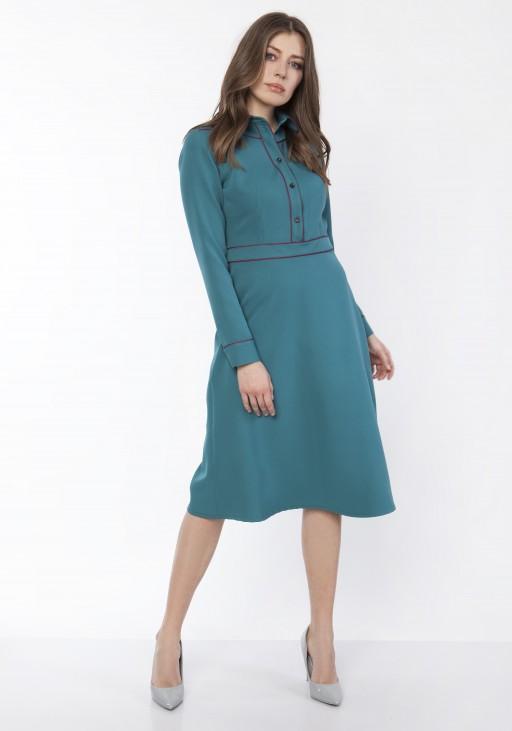 Sukienka elegancka z kołnieżykiem, SUK167 morski