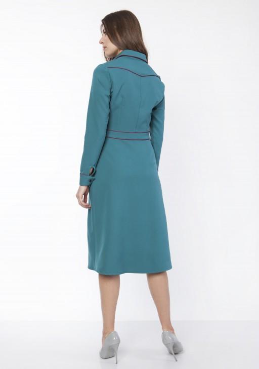 Sukienka elegancka z kołnierzykiem, SUK167 morski