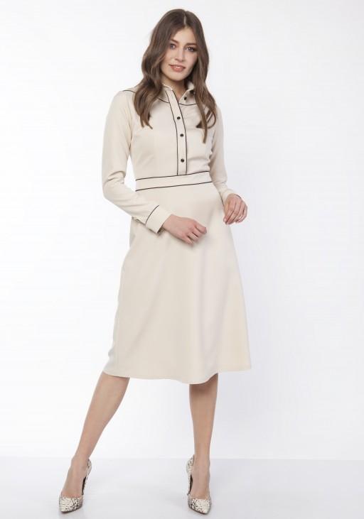 Sukienka elegancka z kołnieżykiem, SUK167 beż