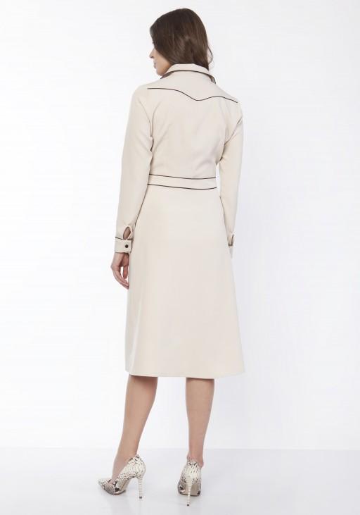 Sukienka elegancka z kołnierzykiem, SUK167 beż
