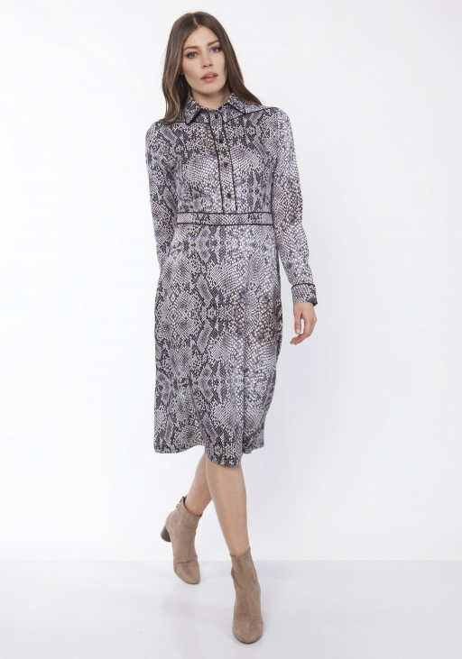 Elegant dress with a collar, SUK165 snake skin