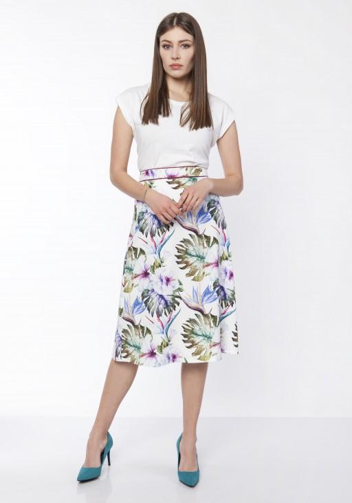 Klasyczna rozkloszowana spódnica, SP121 liście