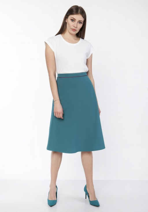 Classic flared skirt, SP120 jeans, SP122 emerald green
