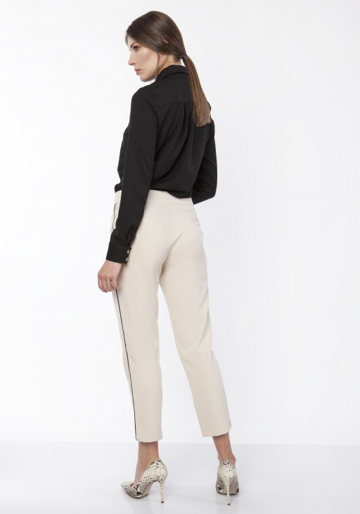 Pants with decorative stripes, SD116 beige