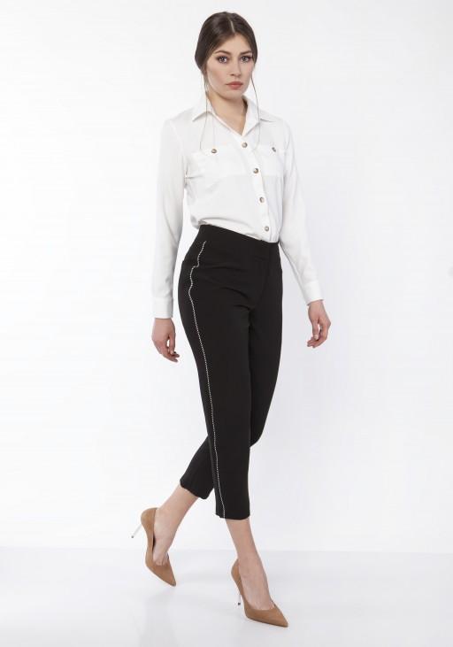 Spodnie z ozdobnymi lampasami, SD116 czarny