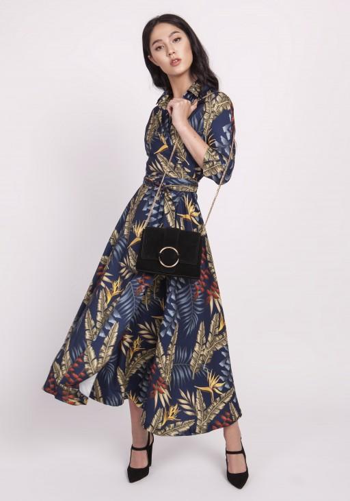 Długa sukienka, SUK171 liście granat