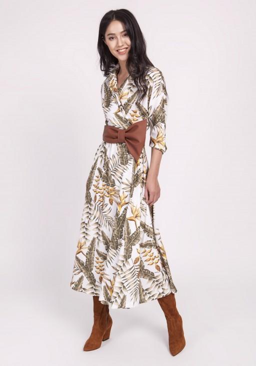 Długa sukienka, SUK171 liście