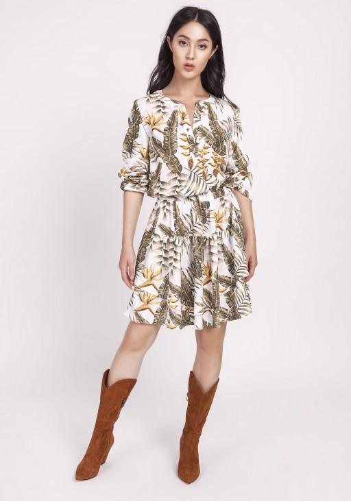 Sukienka z falbanką, SUK174 liscie ecru