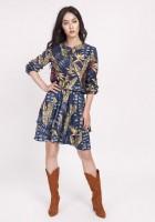 Sukienka z falbanką, SUK174 liscie granat jesień