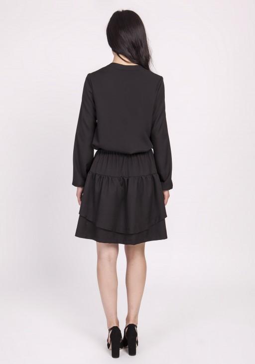 Sukienka z falbanką, SUK175 czarny