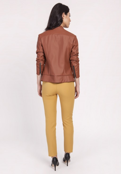Jacket made of soft eco-leather, KR103 brown