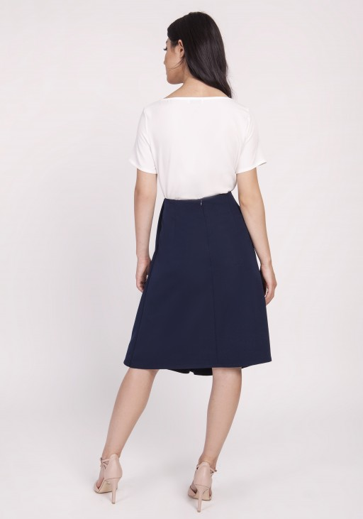 Elegant skirt with spectacular binding at the front. SP123 navy blue