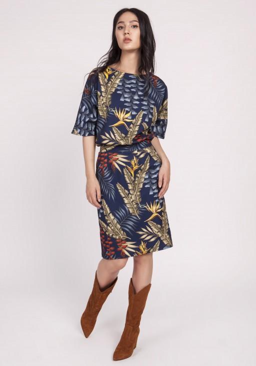 Sukienka dopasowana dołem, SUK123 liście granat jesień
