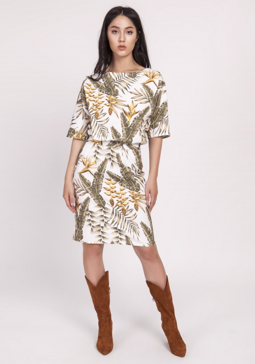 Dress tapered bottom, SUK123 leaves ecru