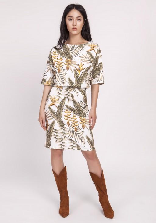 Sukienka dopasowana dołem, SUK123 liście ecru