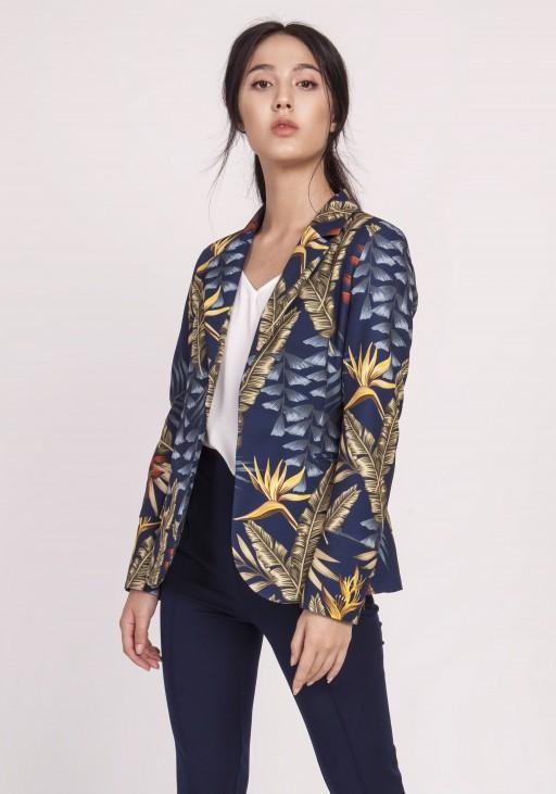 Classic women's coat, ZA117 leaves navy blue