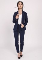 Classic women's coat, ZA117 leaves navy blue