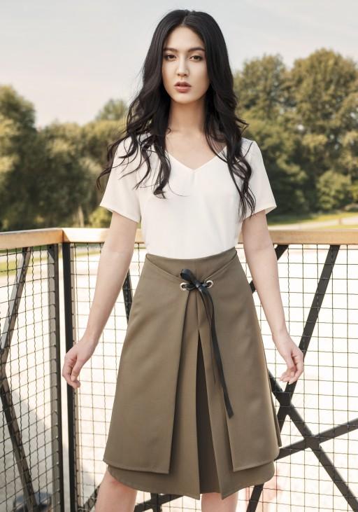 Elegancka spódnica z efektownym wiązaniem z przodu SP123 khaki