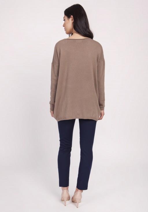 Dzianinowa bluzka, SWE121 mocca