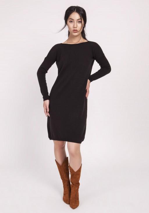Dzianinowa sukienka, SWE122 czarny