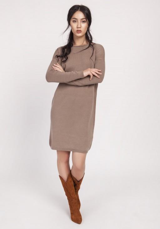 Dzianinowa sukienka, SWE122 mocca
