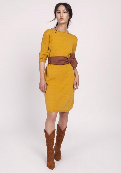 Dzianinowa sukienka, SWE122 musztarda