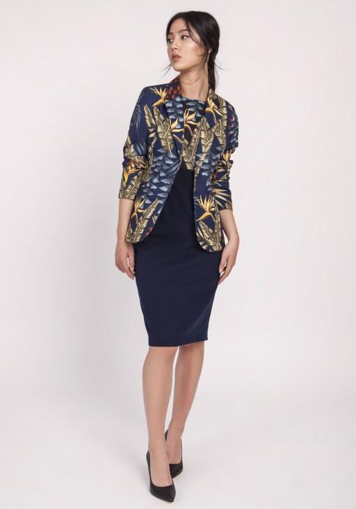 Kobieca sukienka o klasycznym kroju, SUK170 liście granat