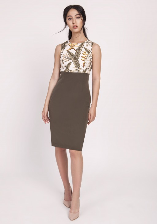 Feminine dress in a classic cut, SUK170 khaki leaves
