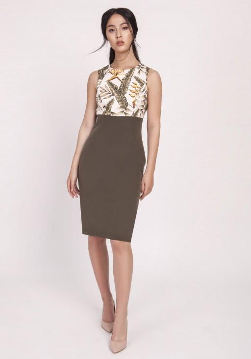 Długa sukienka, SUK171 liście khaki