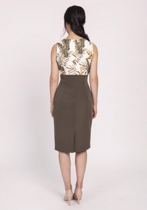 Kobieca sukienka o klasycznym kroju, SUK170 liście khaki